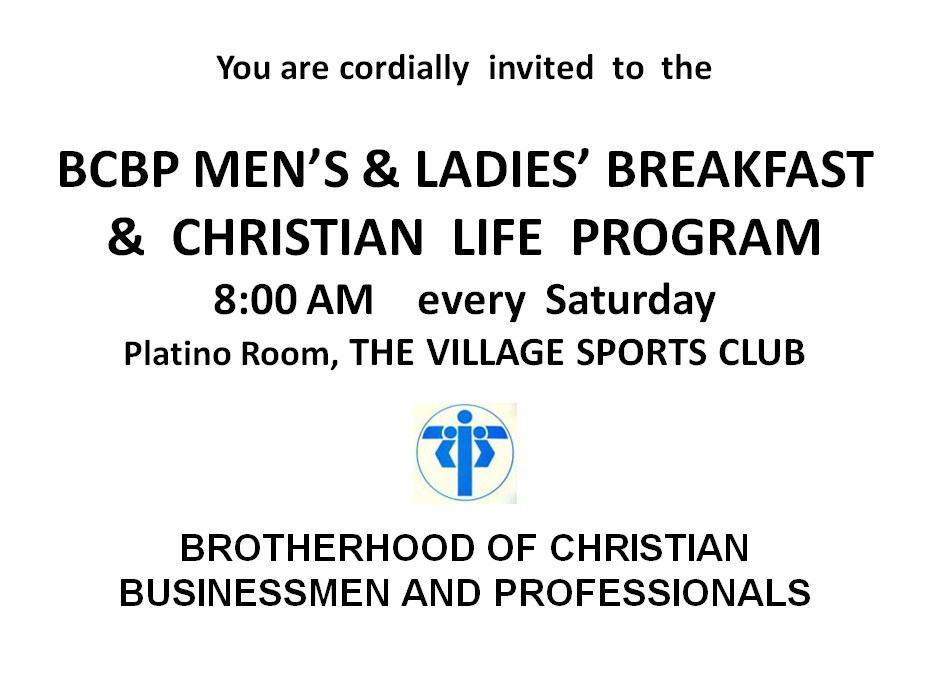 Mass Announcement-BCBP Men's Ladie's Breakfast-June 18, 19
